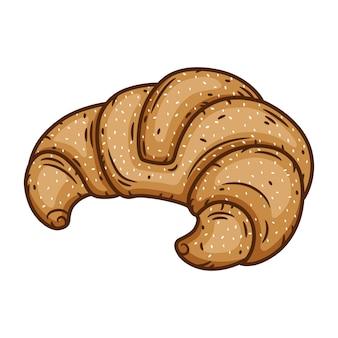Heerlijk gebakken croissant op wit