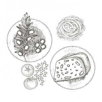 Heerlijk italiaans eten in de tekening
