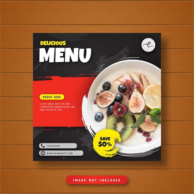 Heerlijk menu eten sociale media post banner