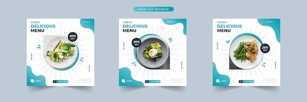 Heerlijk menu eten sociale media promotie en banner post ontwerpsjabloon collectie