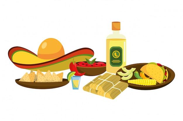 Heerlijk mexicaans eten cartoon