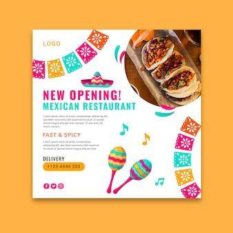 Heerlijk mexicaans eten kwadraat flyer-sjabloon