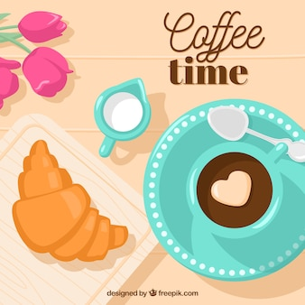 Heerlijk ontbijt achtergrond met een hart in de koffie