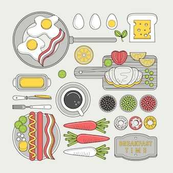 Heerlijk ontbijt eten in platte lijn design