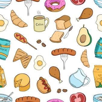 Heerlijk ontbijt eten naadloze patroon met gekleurde stijl