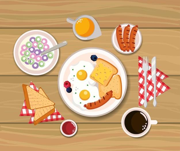 Heerlijk ontbijtgranen met gebakken eieren en gesneden brood