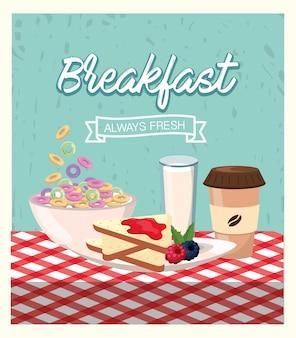 Heerlijk ontbijtgranen met gesneden brood en melkglas