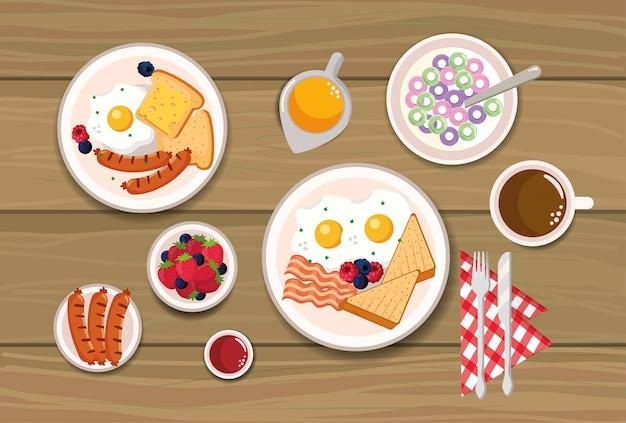 Heerlijk ontbijtgranen met gesneden brood en worstjes