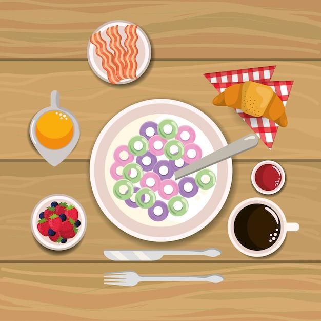 Heerlijk ontbijtgranen met spek en sinaasappelsap