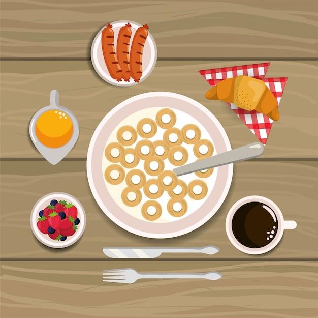 Heerlijk ontbijtgranen met worstjes en een croissantontbijt