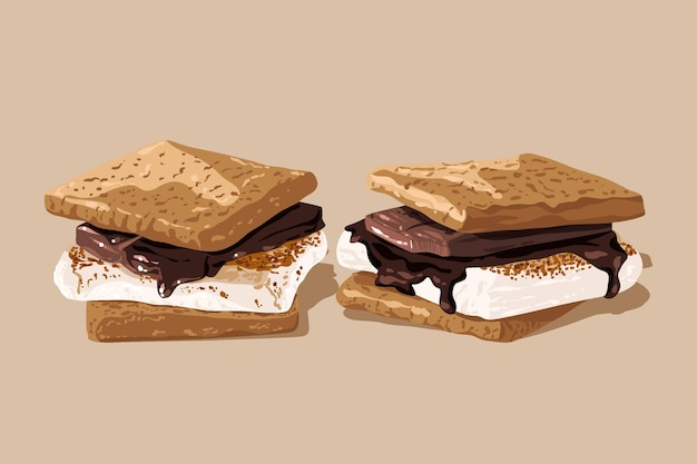 Heerlijk s'mores-dessert geïllustreerd