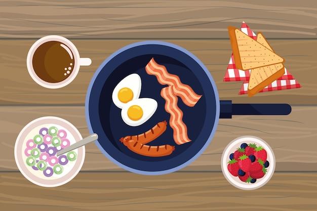 Heerlijk smakelijk ontbijt cartoon