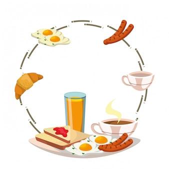 Heerlijk smakelijk ontbijtframe beeldverhaal