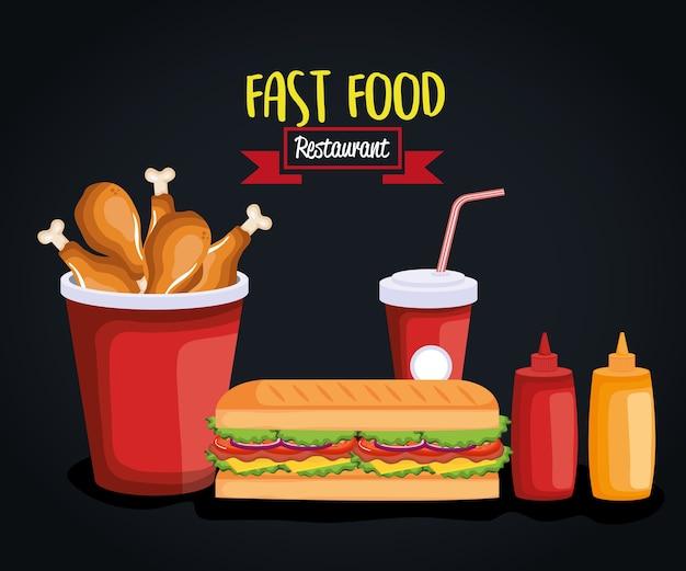 Heerlijk snel vector de illustratieontwerp van voedselpictogrammen
