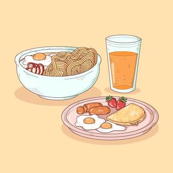 Heerlijk uitziend comfort eten geïllustreerd