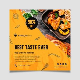 Heerlijke barbecue kwadraat flyer