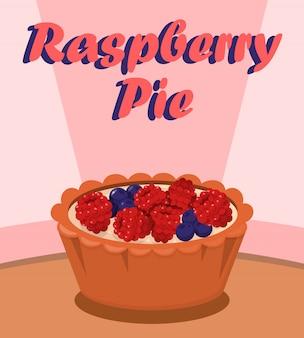 Heerlijke berry pie cartoon poster platte sjabloon