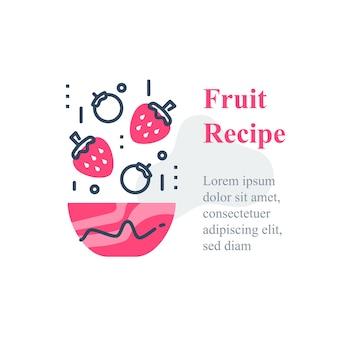 Heerlijke bessensalade, eenvoudig recept, eet gezond voedsel