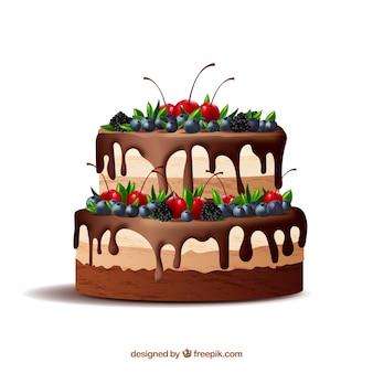 Heerlijke cake met glazuur in realistische stijl