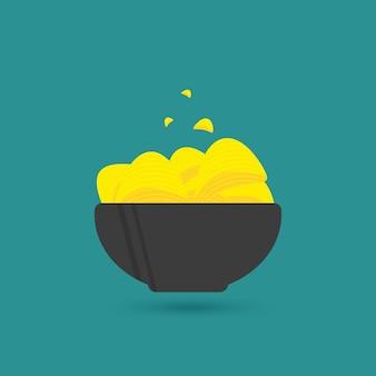 Heerlijke chips in kom, biersnack voor vrienden gemaakt in platte stijl. vectorillustratie voor banners, posters, advertenties, verpakkingsontwerp.