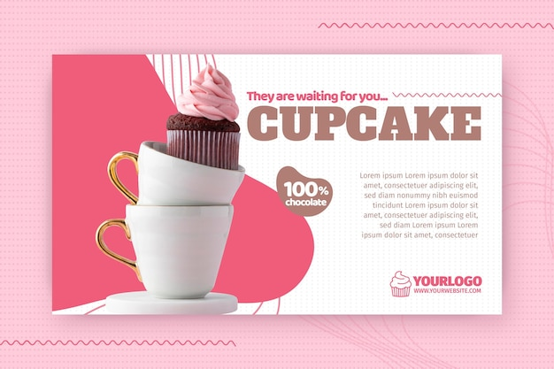 Heerlijke cupcake sjabloon voor spandoek