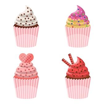 Heerlijke cupcakeillustratie die op wit wordt geïsoleerd