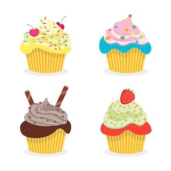 Heerlijke cupcakes. platte ontwerpstijl. illustratie
