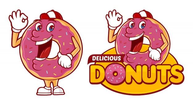 Heerlijke donuts logo sjabloon, met grappige karakter donuts