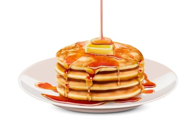 Heerlijke donzige pannenkoek met honing boter toppings, witte achtergrond