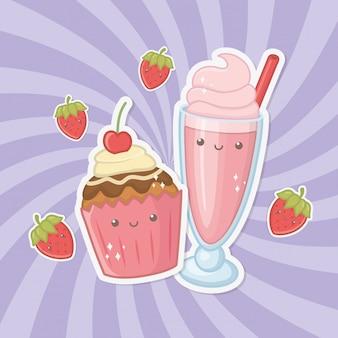 Heerlijke en zoete milkshake en kawaiikarakters van producten