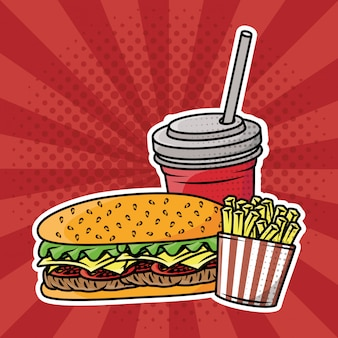 Heerlijke fastfood-pop-artstijl