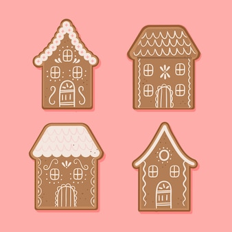 Heerlijke gebakken peperkoek huis hand getrokken
