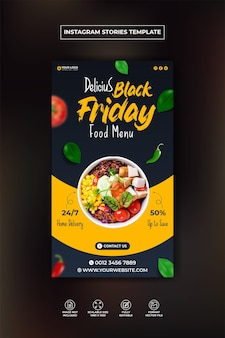 Heerlijke hamburger en eten menu instagram en facebook verhaalsjabloon premium vector Premium Vector