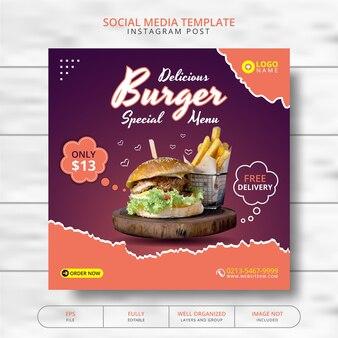 Heerlijke hamburger en eten menu social media post template promotie