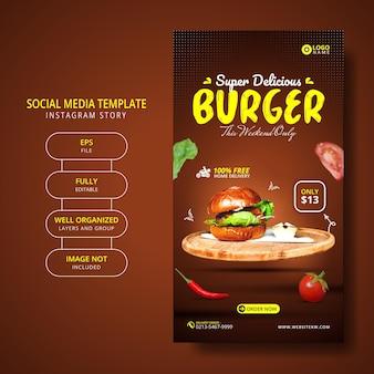 Heerlijke hamburger en eten menu social media story template-promotie