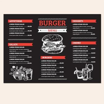 Heerlijke hamburger menusjabloon