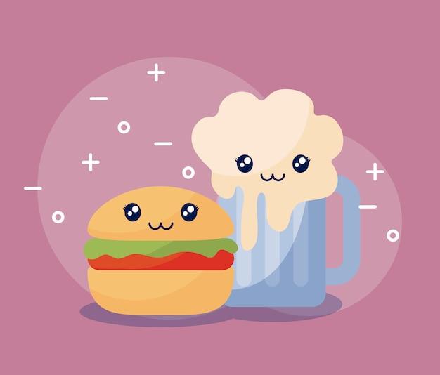 Heerlijke hamburger met bierkawaiikarakter