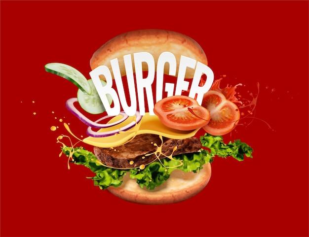 Heerlijke hamburger met ingrediënten die in de lucht vliegen op rode achtergrond in 3d illustratie