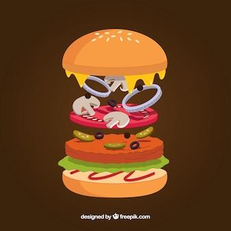 Heerlijke hamburgeringrediënten met een plat ontwerp
