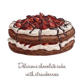Heerlijke hand getekende chocolade vector cake met aardbeien