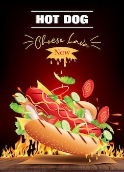 Heerlijke hot dog cheese-advertenties en ingrediënten op houten met brandend vuur