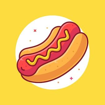 Heerlijke hot dog logo vector icon illustratie premium fast food cartoon logo in vlakke stijl