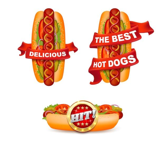 Heerlijke hotdog met lint en tekst kant en bovenaanzicht vector geïsoleerde illustratie fastfood prom...