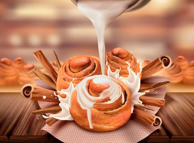 Heerlijke kaneelbroodjes met gecondenseerde melk en rouguikruiden, 3d-stijl