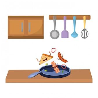 Heerlijke kawaii ontbijt cartoon