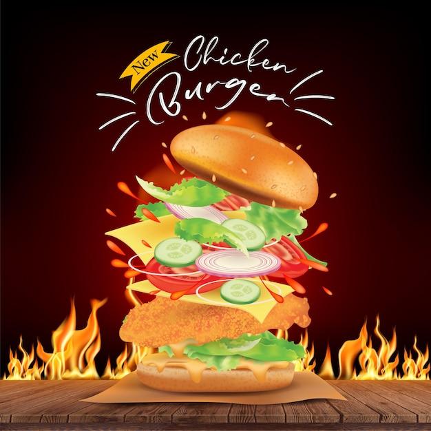 Heerlijke kipburgeradvertenties en vliegende ingrediënten op houten met brandend vuur