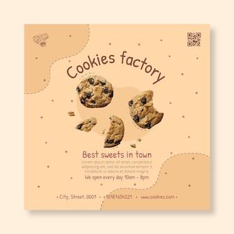 Heerlijke koekjes kwadraat flyer-sjabloon