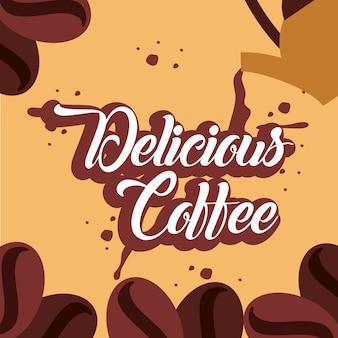 Heerlijke koffie bespatte zaden verse drankaffiche