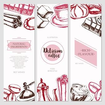 Heerlijke koffie - driedelige kleur vector hand getekende vierkante sjabloon banner met copyspace. realistische marshmallow, beker, koekje, molen, theepot, cake, suiker, koffiebonen, kaneel.