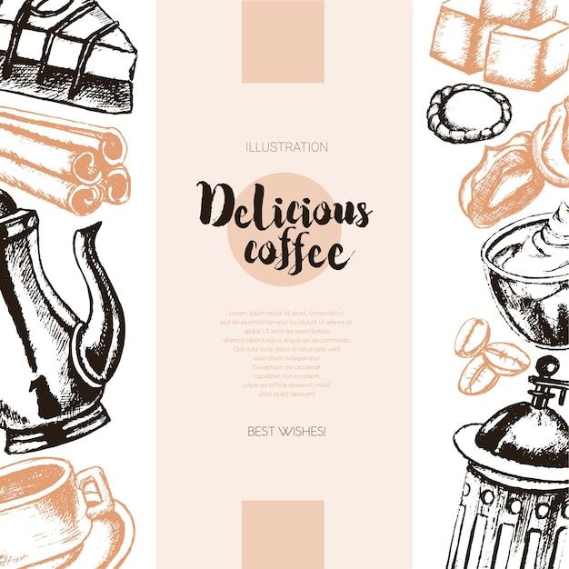 Heerlijke koffie - kleur vector hand getekende samengestelde banner met copyspace. realistische marshmallow, beker, koekje, molen, theepot, cake, suiker, koffiebonen, kaneel.